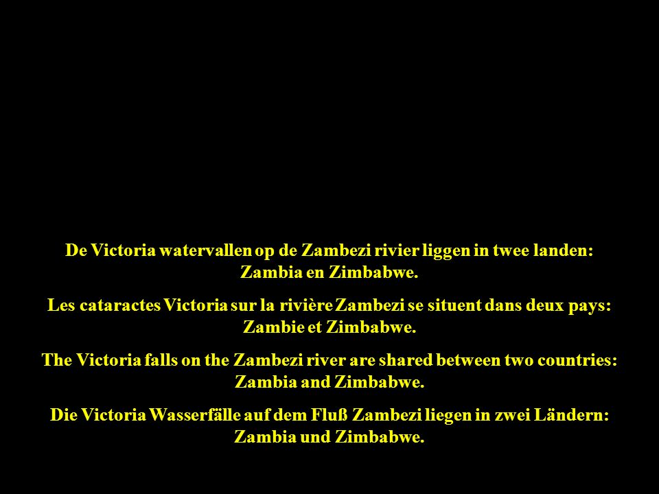 De Victoria watervallen op de Zambezi rivier liggen in twee landen: Zambia en Zimbabwe.