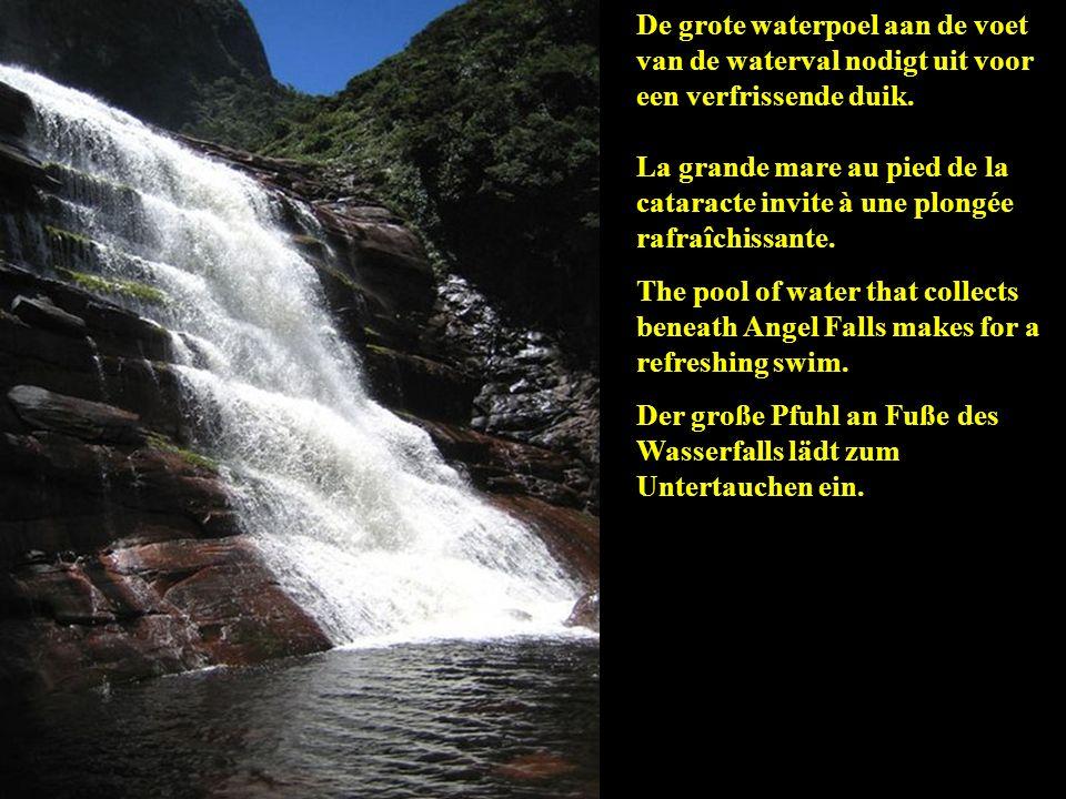 De grote waterpoel aan de voet van de waterval nodigt uit voor een verfrissende duik.