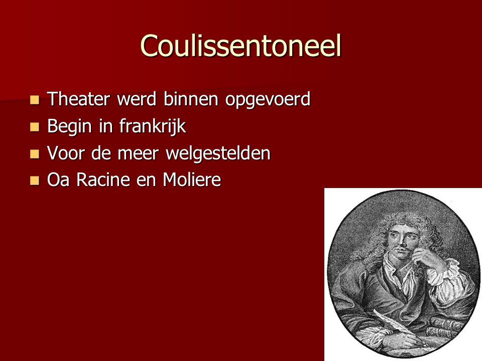 Coulissentoneel Theater werd binnen opgevoerd Begin in frankrijk