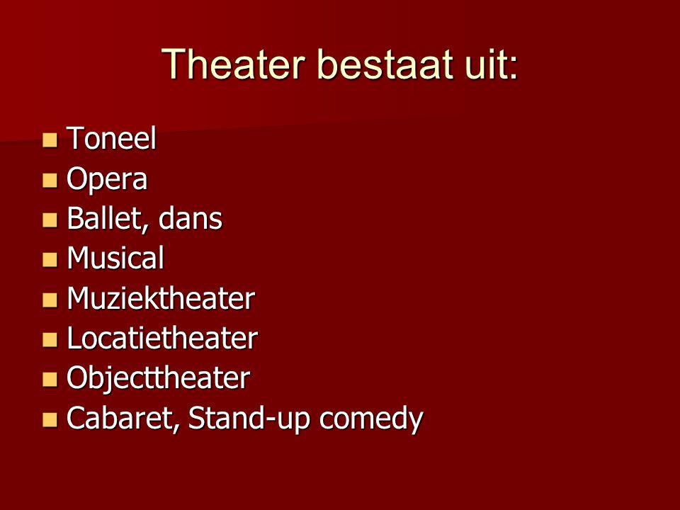 Theater bestaat uit: Toneel Opera Ballet, dans Musical Muziektheater