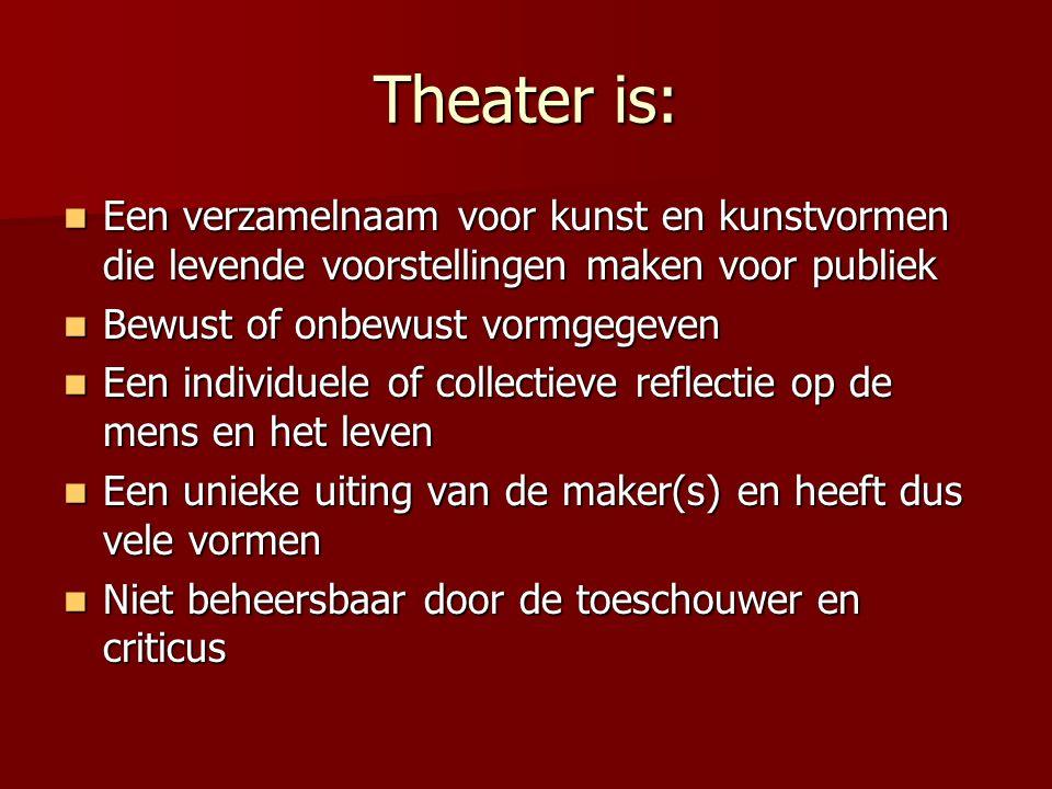 Theater is: Een verzamelnaam voor kunst en kunstvormen die levende voorstellingen maken voor publiek.