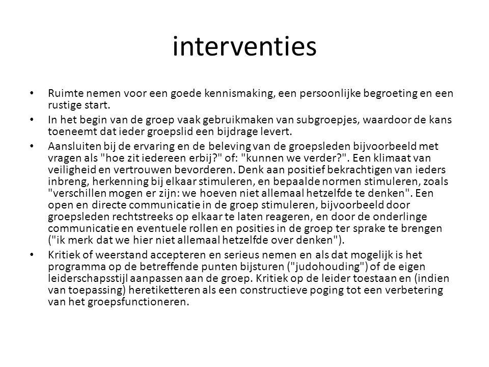 interventies Ruimte nemen voor een goede kennismaking, een persoonlijke begroeting en een rustige start.