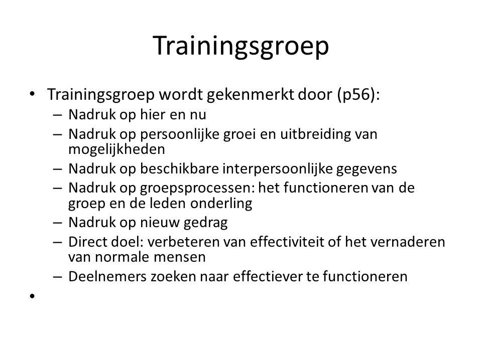 Trainingsgroep Trainingsgroep wordt gekenmerkt door (p56):