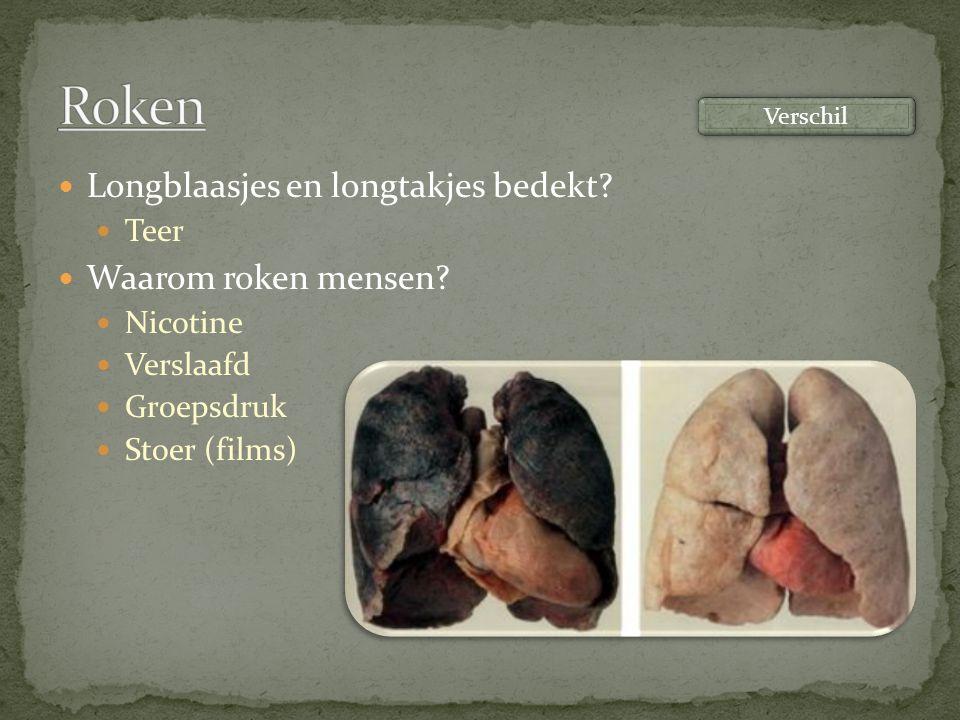 Roken Longblaasjes en longtakjes bedekt Waarom roken mensen Teer