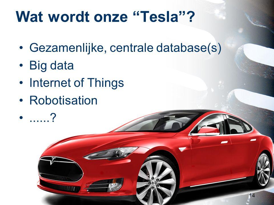 Wat wordt onze Tesla Gezamenlijke, centrale database(s) Big data