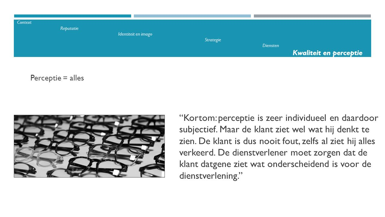 Context. Reputatie. Identiteit en imago. Strategie. Diensten