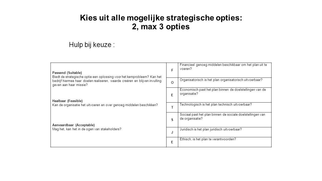 Kies uit alle mogelijke strategische opties: 2, max 3 opties