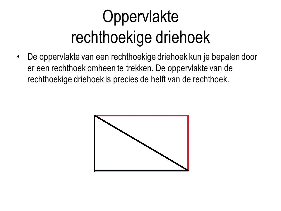 Oppervlakte rechthoekige driehoek