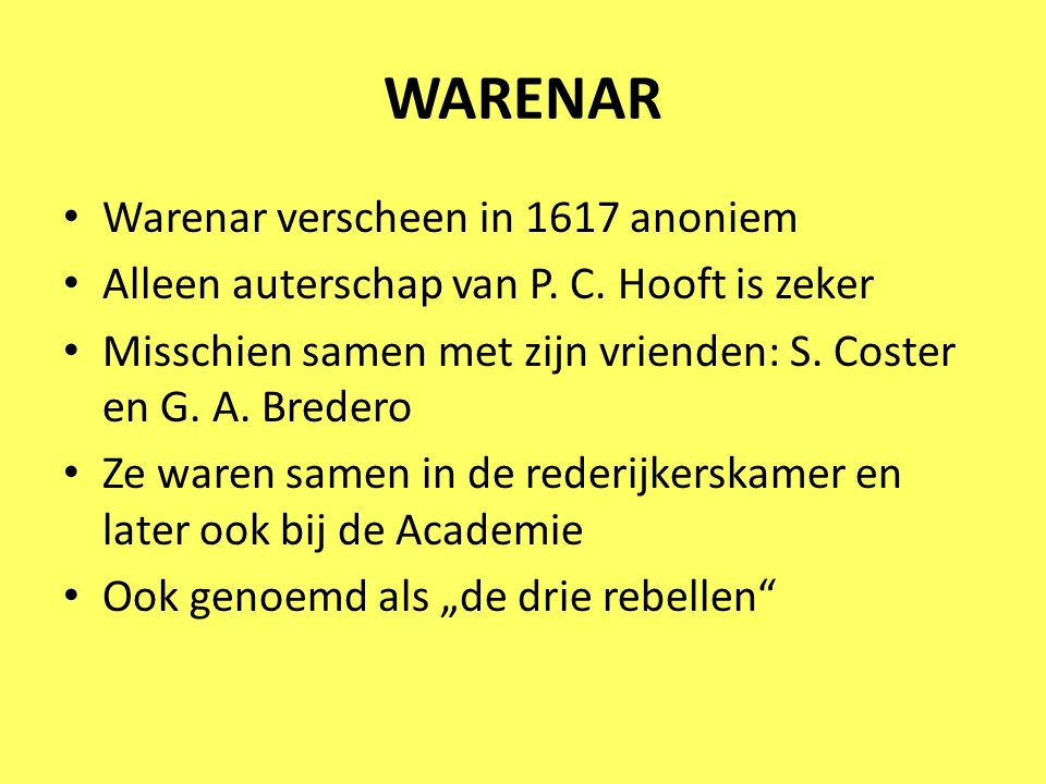 WARENAR Warenar verscheen in 1617 anoniem
