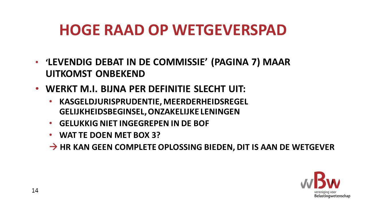 HOGE RAAD OP WETGEVERSPAD