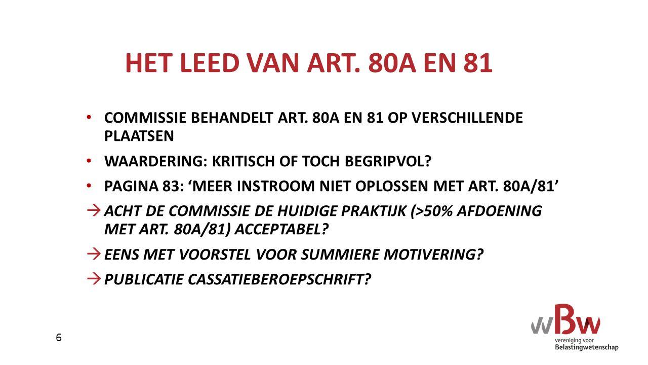 HET LEED VAN ART. 80A EN 81 COMMISSIE BEHANDELT ART. 80A EN 81 OP VERSCHILLENDE PLAATSEN. WAARDERING: KRITISCH OF TOCH BEGRIPVOL