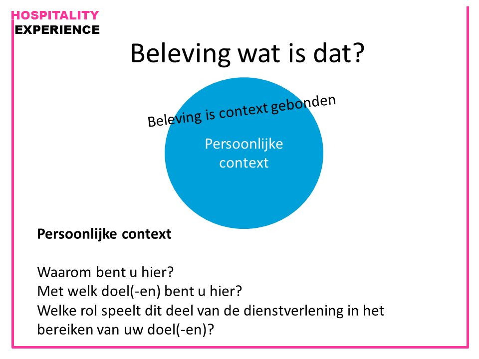 Beleving is context gebonden