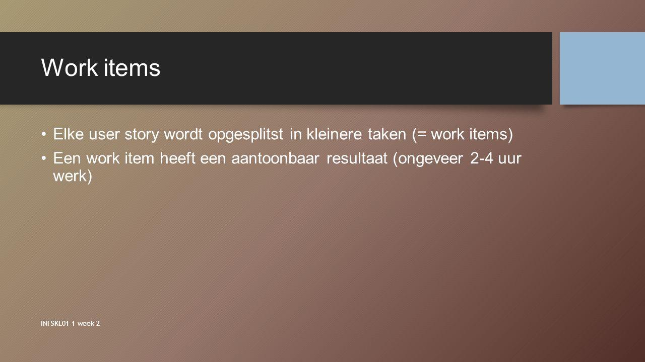 Work items Elke user story wordt opgesplitst in kleinere taken (= work items) Een work item heeft een aantoonbaar resultaat (ongeveer 2-4 uur werk)
