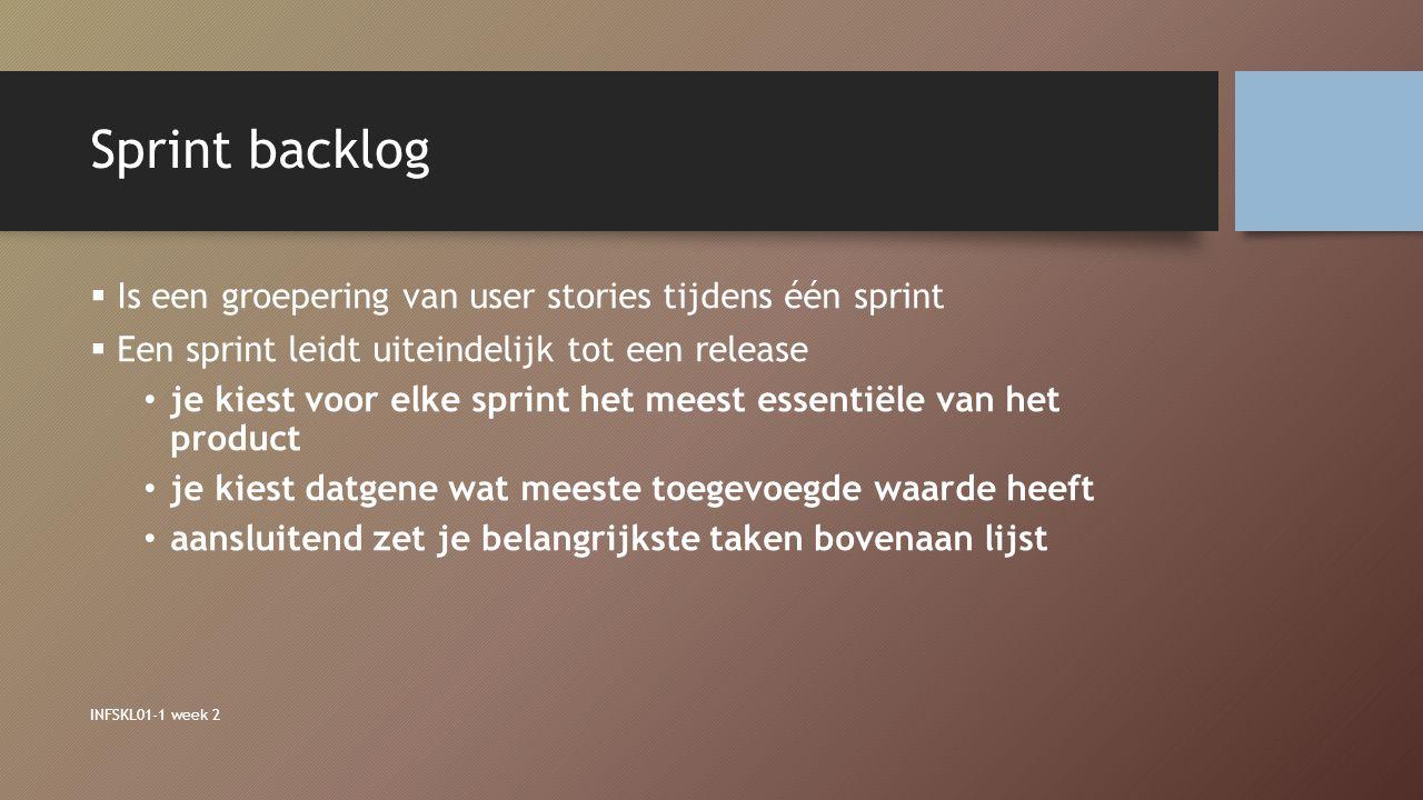 Sprint backlog Is een groepering van user stories tijdens één sprint