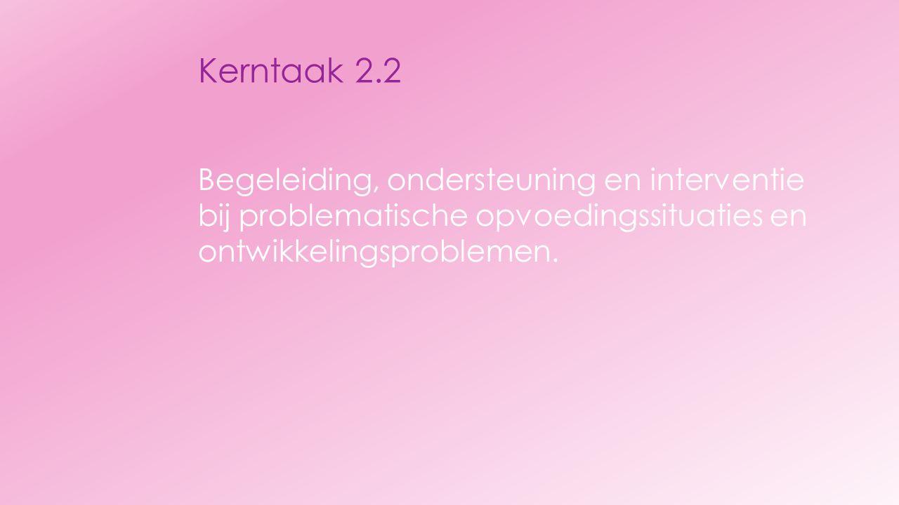 Kerntaak 2.2 Begeleiding, ondersteuning en interventie bij problematische opvoedingssituaties en ontwikkelingsproblemen.