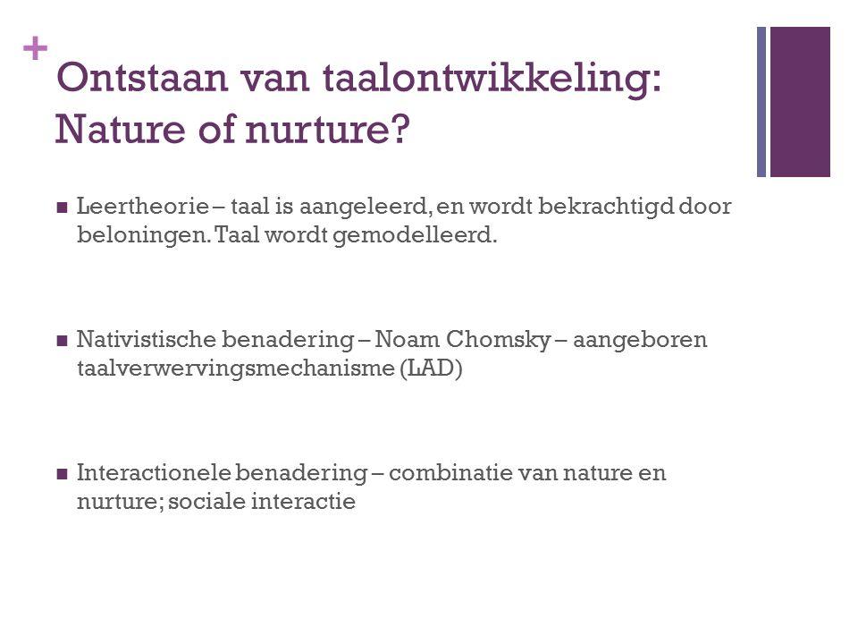 Ontstaan van taalontwikkeling: Nature of nurture
