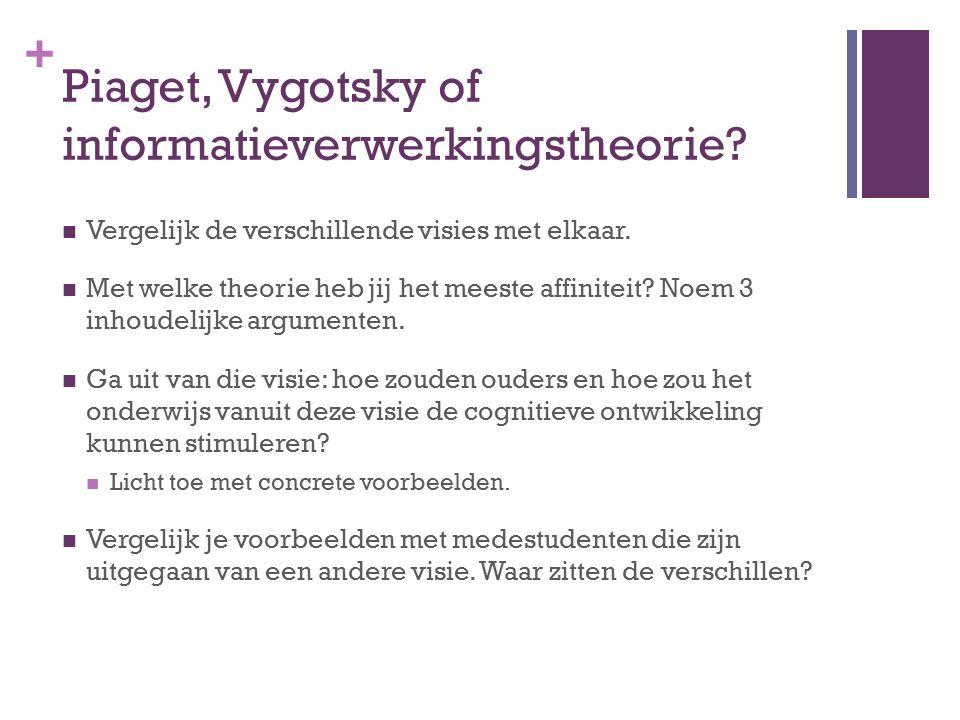 Piaget, Vygotsky of informatieverwerkingstheorie