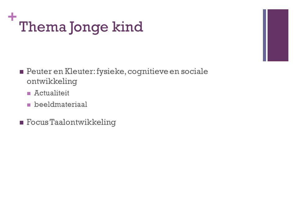 Thema Jonge kind Peuter en Kleuter: fysieke, cognitieve en sociale ontwikkeling. Actualiteit. beeldmateriaal.