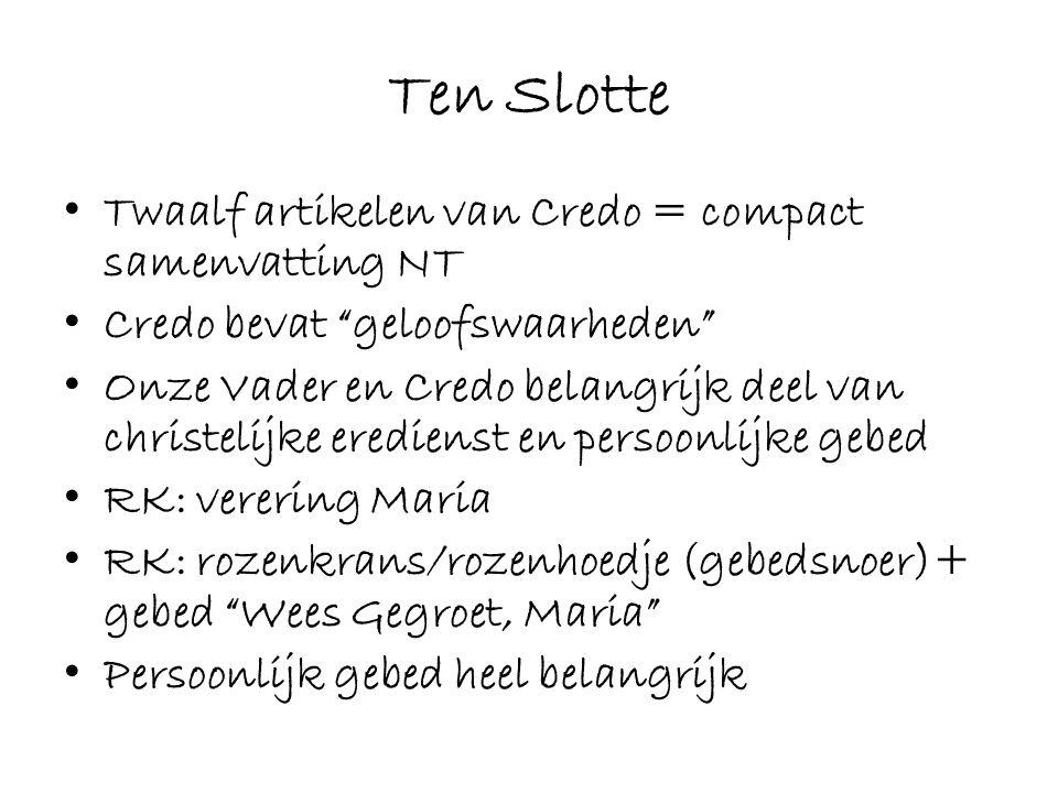 Ten Slotte Twaalf artikelen van Credo = compact samenvatting NT