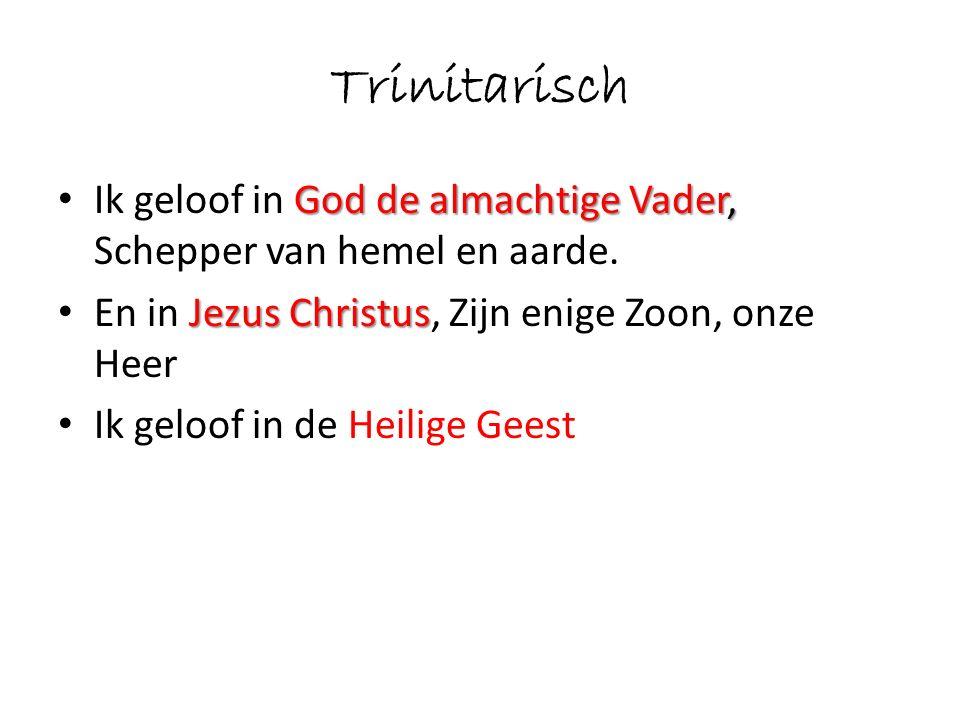 Trinitarisch Ik geloof in God de almachtige Vader, Schepper van hemel en aarde. En in Jezus Christus, Zijn enige Zoon, onze Heer.