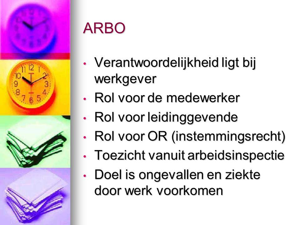 ARBO Verantwoordelijkheid ligt bij werkgever Rol voor de medewerker