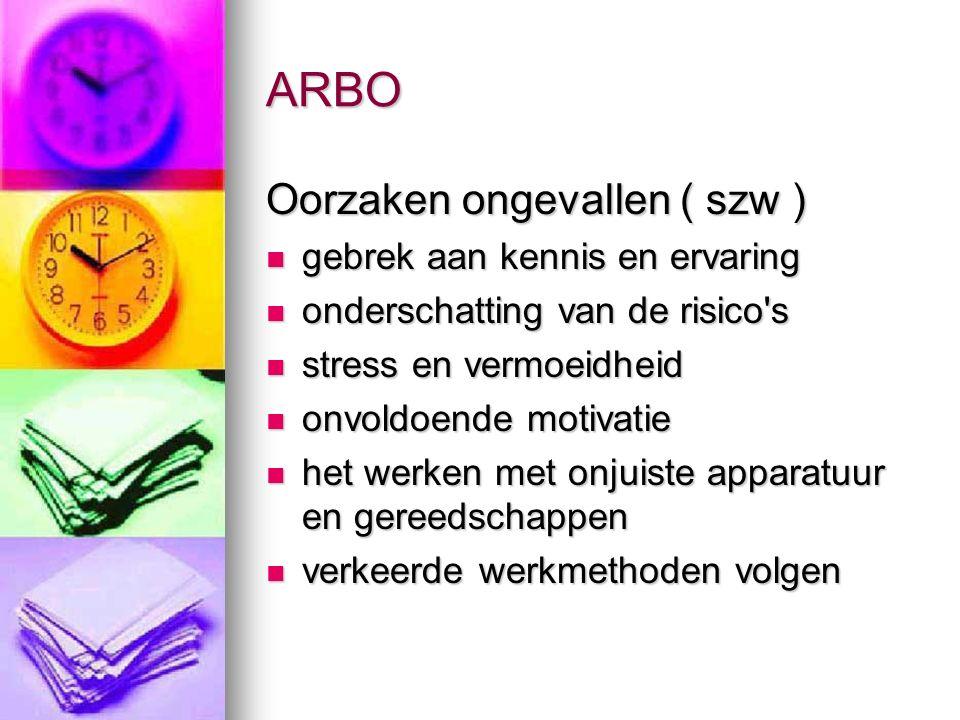 ARBO Oorzaken ongevallen ( szw ) gebrek aan kennis en ervaring