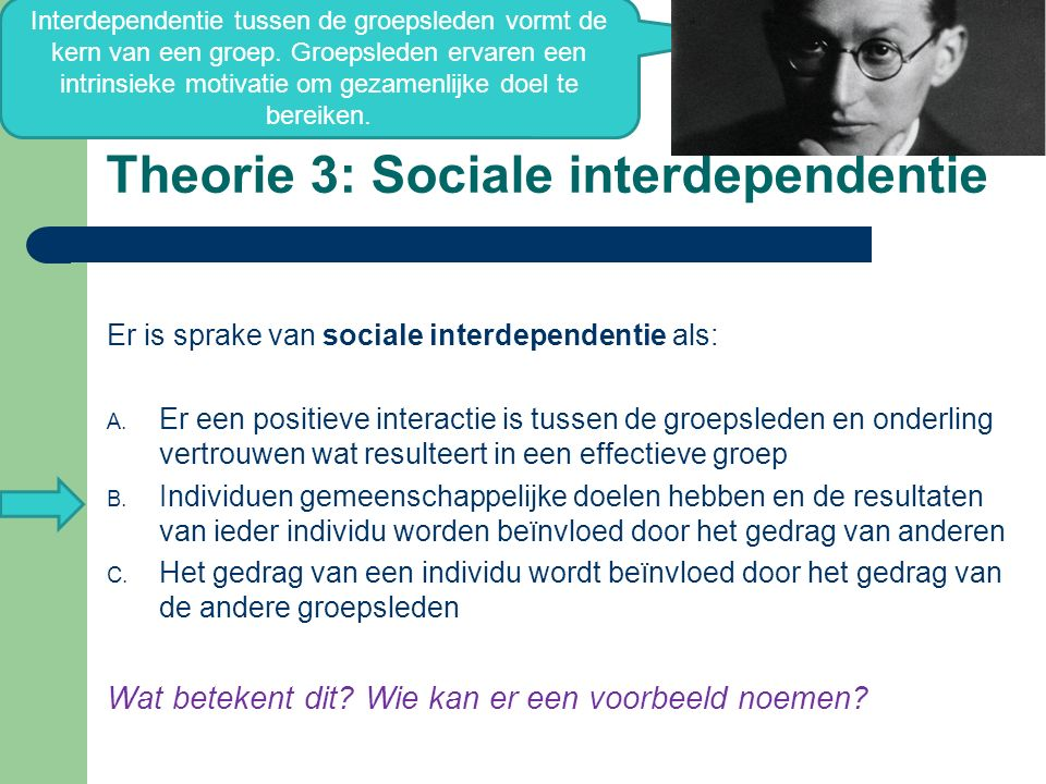 Theorie 3: Sociale interdependentie