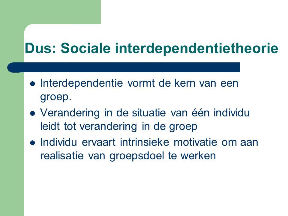 Dus: Sociale interdependentietheorie
