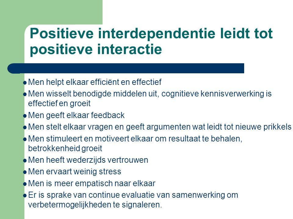 Positieve interdependentie leidt tot positieve interactie