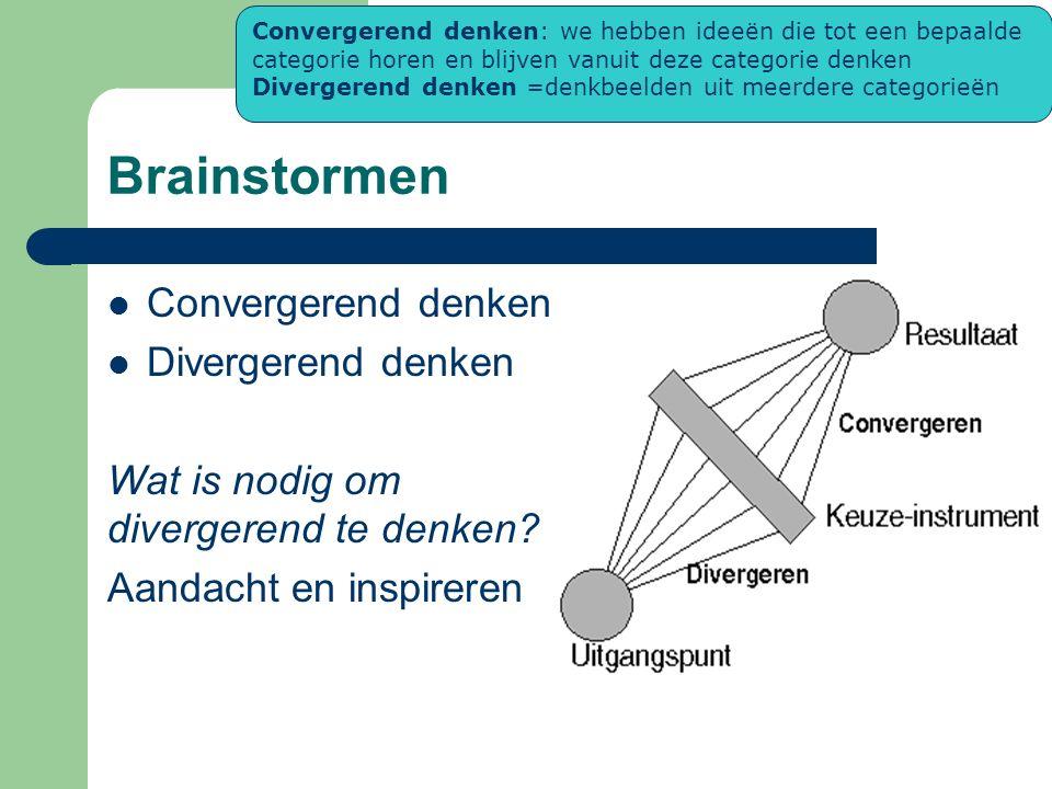 Brainstormen Convergerend denken Divergerend denken