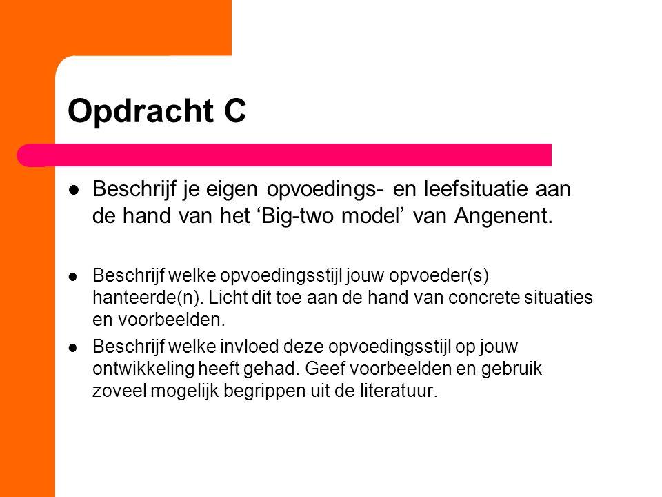 Opdracht C Beschrijf je eigen opvoedings- en leefsituatie aan de hand van het 'Big-two model' van Angenent.