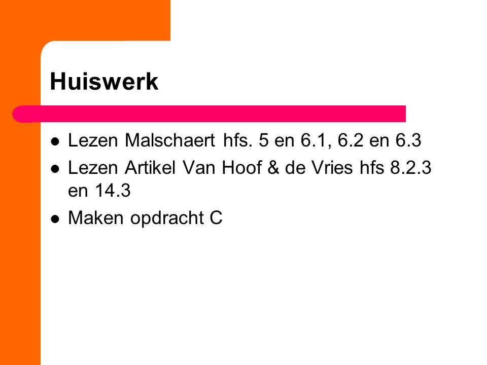 Huiswerk Lezen Malschaert hfs. 5 en 6.1, 6.2 en 6.3