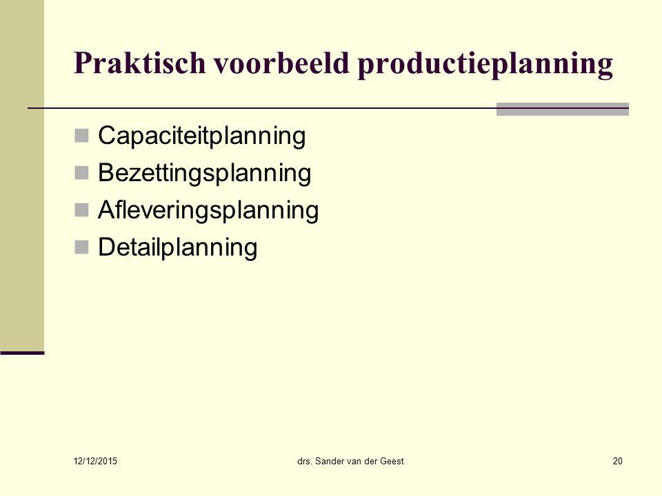 Praktisch voorbeeld productieplanning