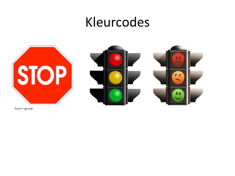 Kleurcodes Rood = gevaar