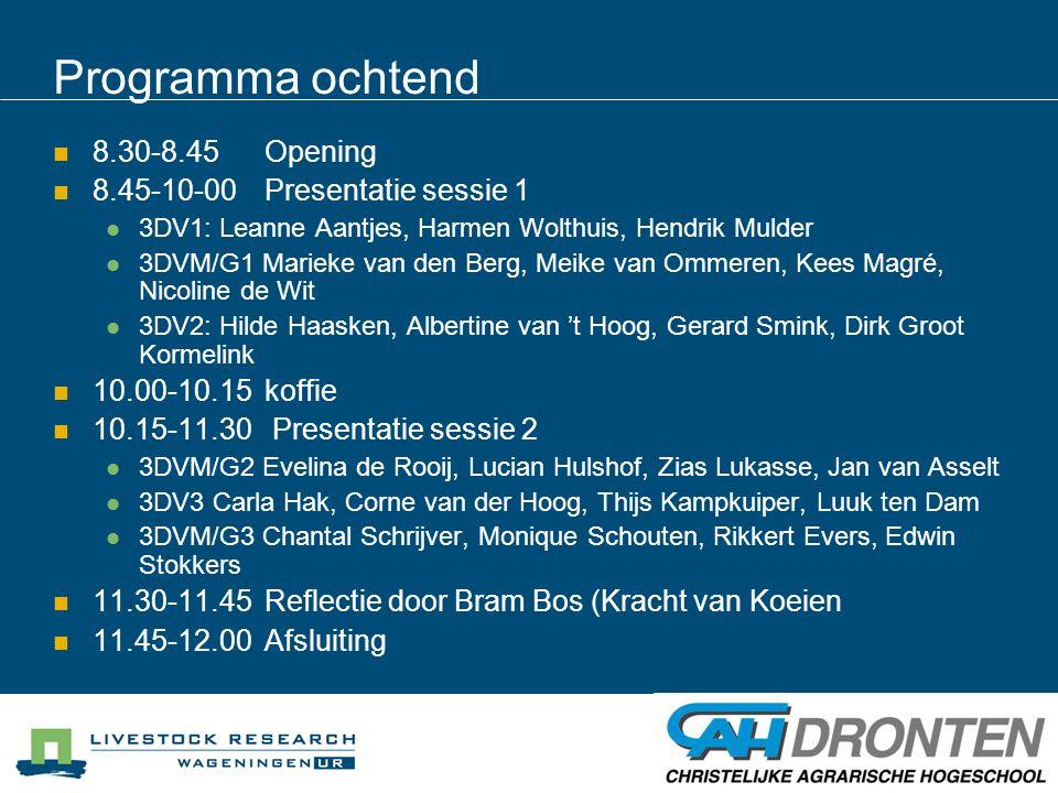 Programma ochtend 8.30-8.45 Opening 8.45-10-00 Presentatie sessie 1
