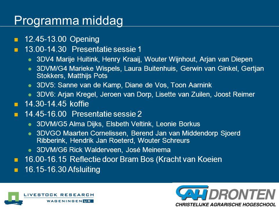 Programma middag 12.45-13.00 Opening 13.00-14.30 Presentatie sessie 1