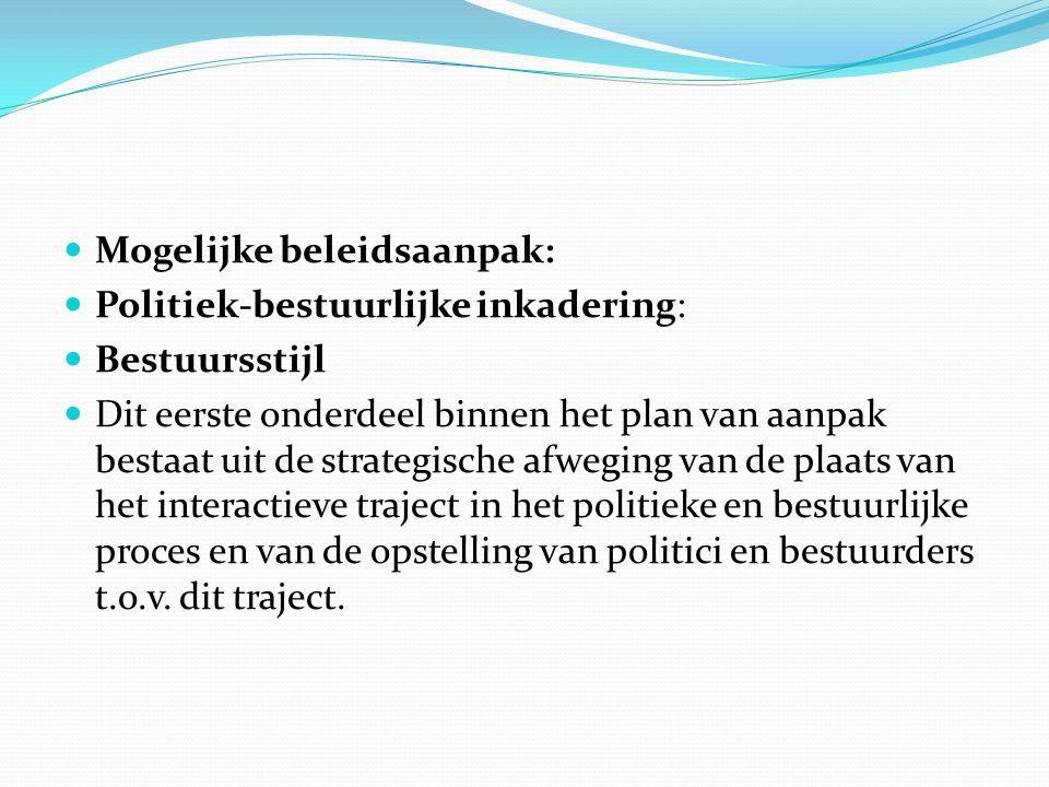 Mogelijke beleidsaanpak: