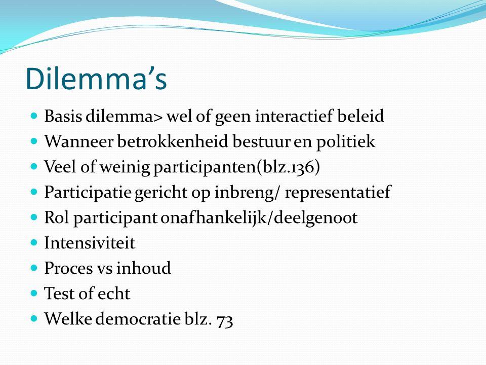 Dilemma's Basis dilemma> wel of geen interactief beleid
