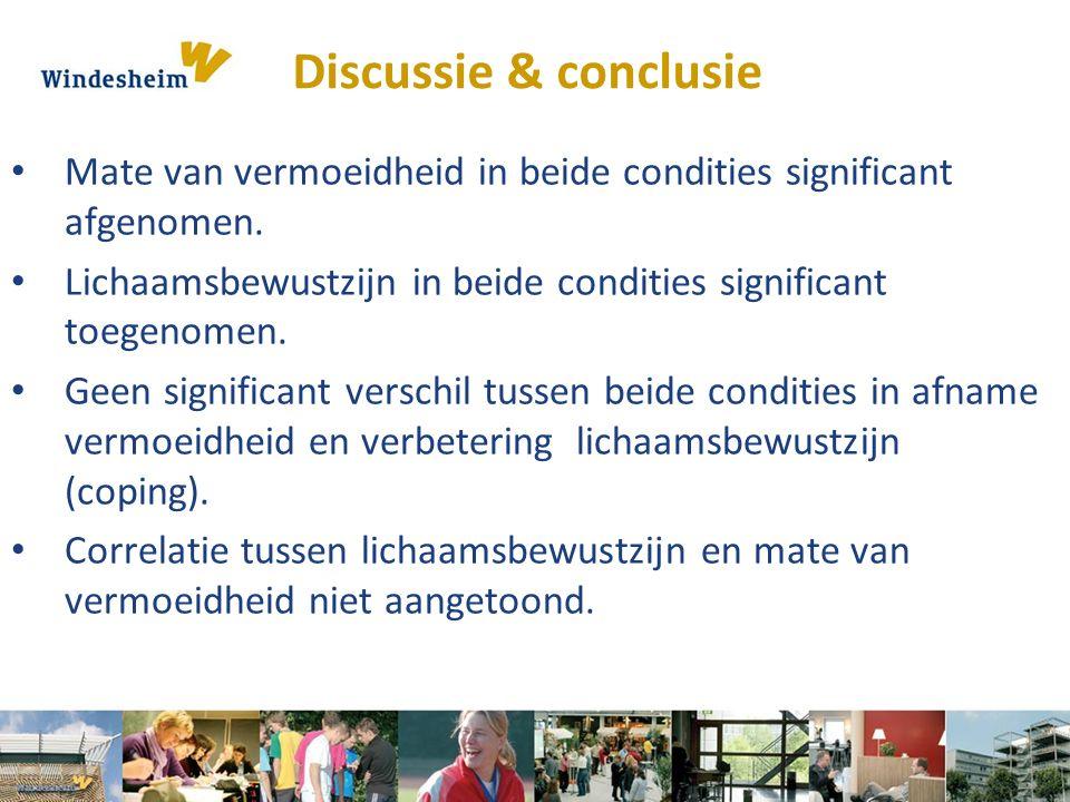 Discussie & conclusie Mate van vermoeidheid in beide condities significant afgenomen. Lichaamsbewustzijn in beide condities significant toegenomen.