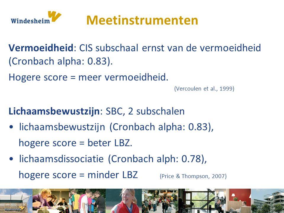 Meetinstrumenten Vermoeidheid: CIS subschaal ernst van de vermoeidheid (Cronbach alpha: 0.83). Hogere score = meer vermoeidheid.