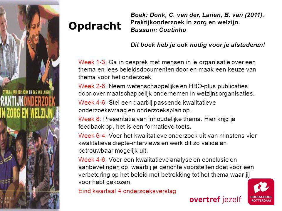 Opdracht Boek: Donk, C. van der, Lanen, B. van (2011). Praktijkonderzoek in zorg en welzijn. Bussum: Coutinho.