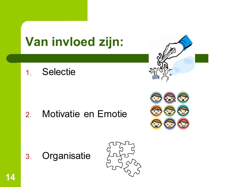 Van invloed zijn: Selectie Motivatie en Emotie Organisatie