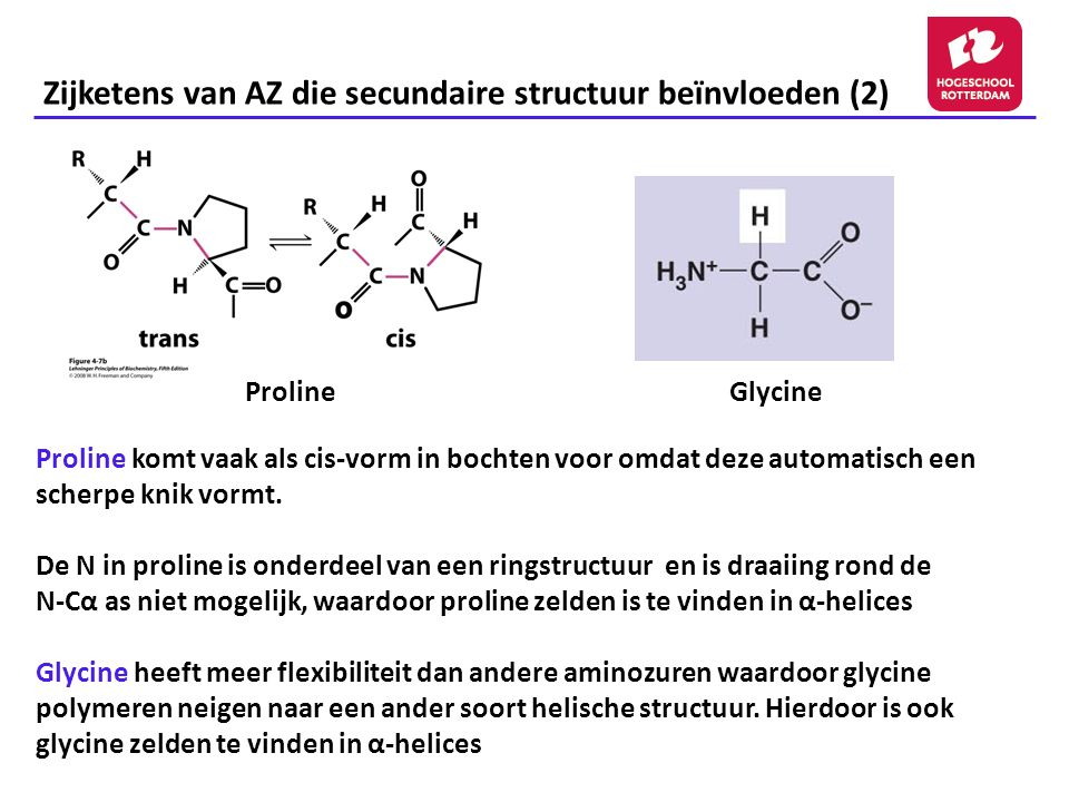 Zijketens van AZ die secundaire structuur beïnvloeden (2)