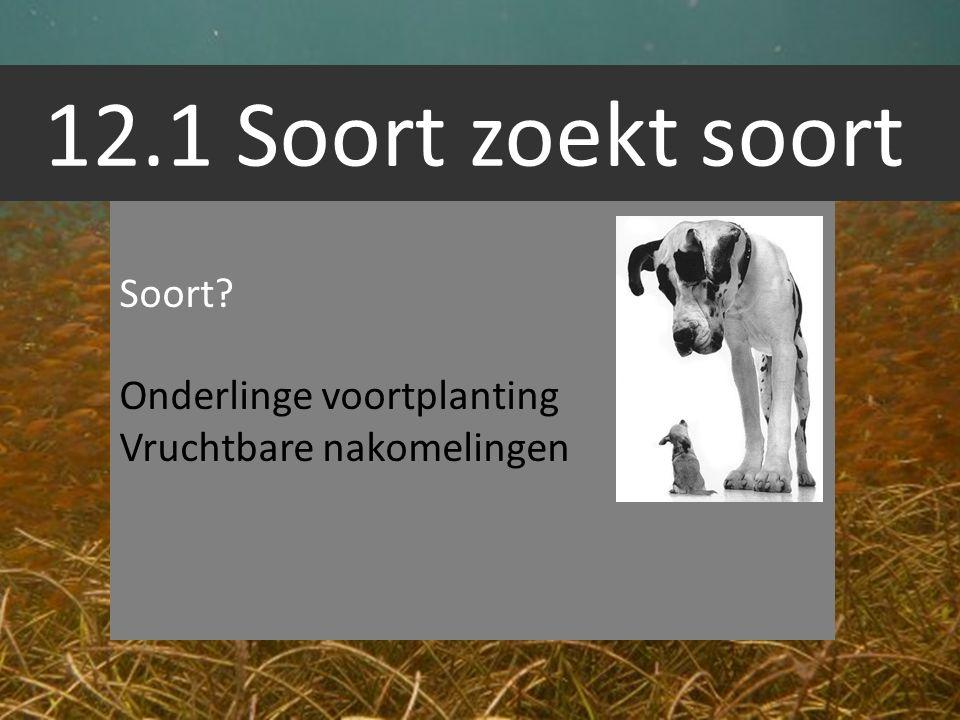 12.1 Soort zoekt soort Soort Onderlinge voortplanting