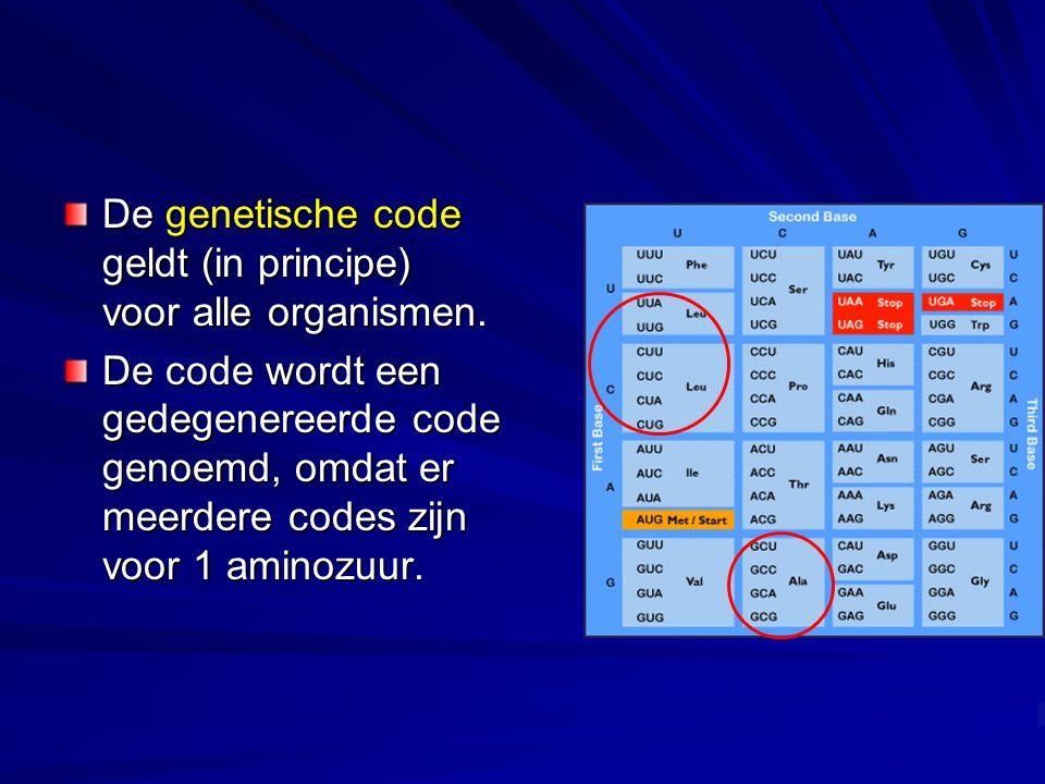 De genetische code geldt (in principe) voor alle organismen.
