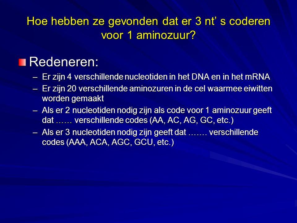 Hoe hebben ze gevonden dat er 3 nt' s coderen voor 1 aminozuur