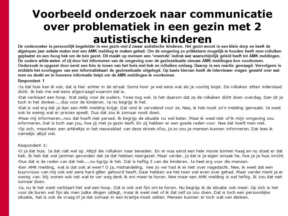 Voorbeeld onderzoek naar communicatie over problematiek in een gezin met 2 autistische kinderen