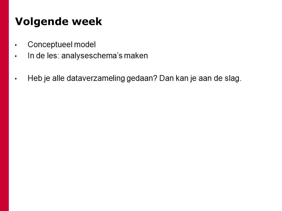 Volgende week Conceptueel model In de les: analyseschema's maken
