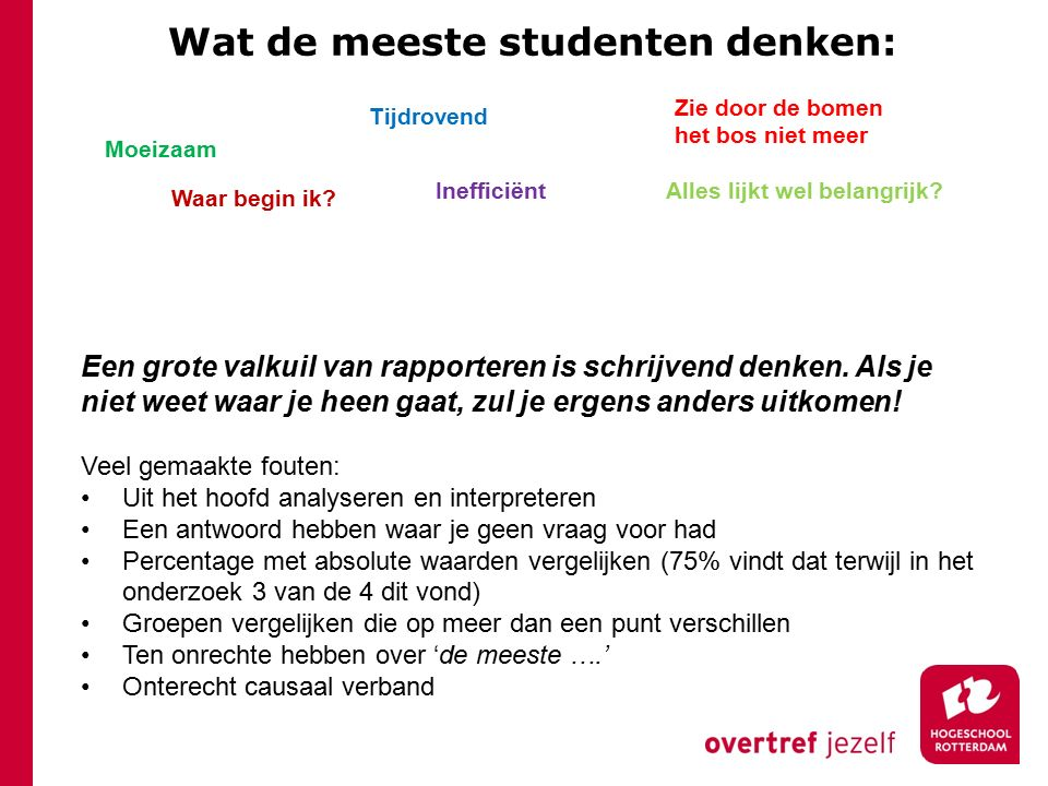 Wat de meeste studenten denken: