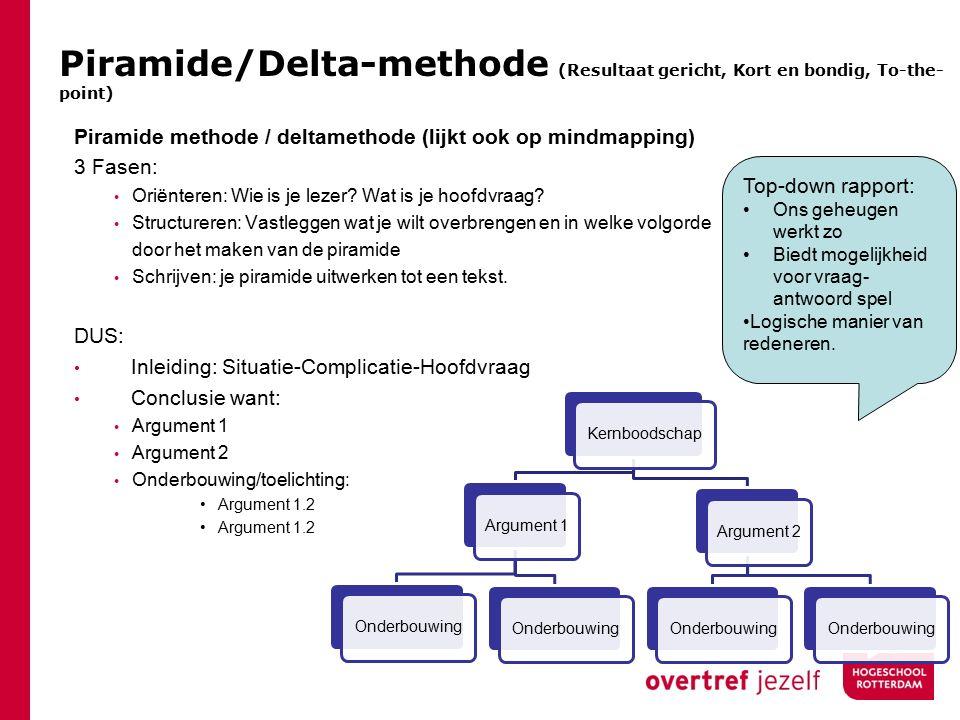 Piramide/Delta-methode (Resultaat gericht, Kort en bondig, To-the-point)